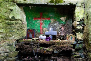 Wall and crosses at St. Brigid's Well, Liscannor, Co. Clare